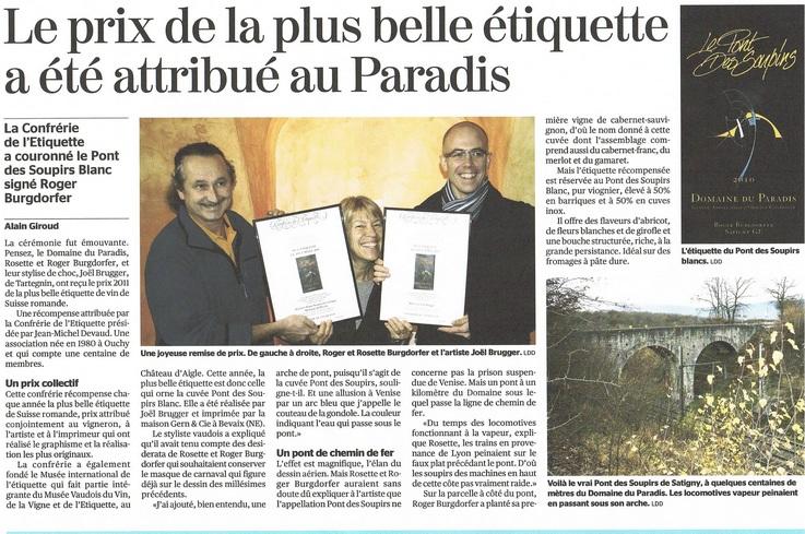 """Remise de la distinction du concours """"La plus belle 2011"""" le 3 décembre 2011 Cette année, la Confrérie de l'Etiquette et les vainqueurs de notre concours ont eu l'honneur d'un article paru dans la """"Tribune de Genève"""" du 16 décembre 2011, ce qui n'est pas fréquent. En voici donc la reproduction intégrale."""